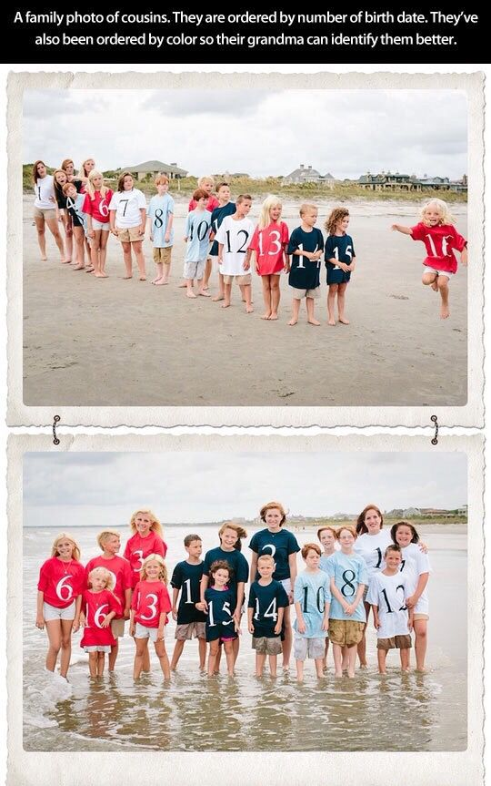 Very cute Idea for family reunions and photos. How to keep track of grandkids! Each family wears a color and the children wear the number of their birth order.