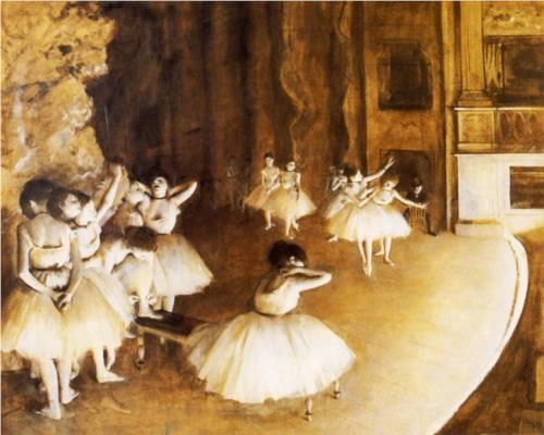 The Ballet Rehearsal on Stage - Edgar Degas