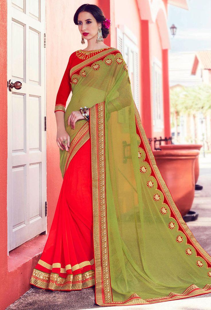Green,#Orange Net,Georgette #Half N Half #Saree #nikvik  #usa #designer #australia #canada #freeshipping #dress #saris
