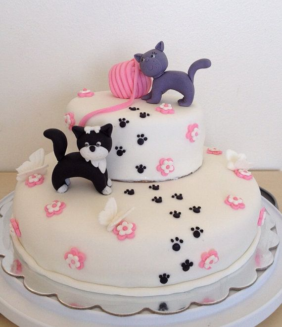 1 edible fondant Cat Kitty birthday, pet cake topper