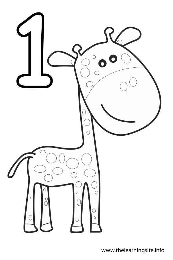 Two coloring pages in one ~ coloring-page-number-outline-one-giraffe | Numbers ...
