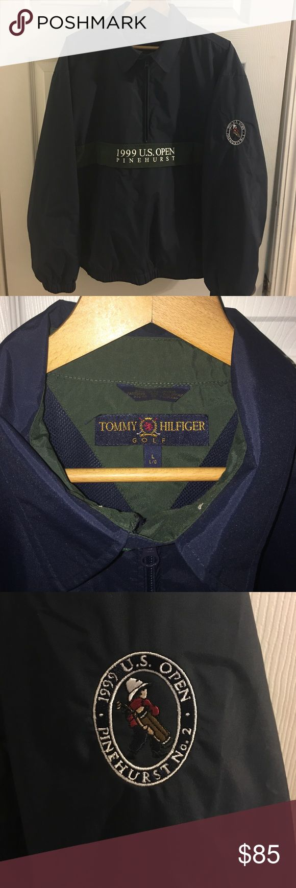 "Tommy Hilfiger. 1999 US Open pullover 1999 US Open Half Zip pullover. Size L. One of the most coveted collectible jacket ""other than a green Masters jacket "" in all of golf. The most remembered golf tournament of all time. Won by the Late Payne Stewart just before he died in that terrible plane  crash. Any golfer would be proud to display it. He was a great man that has been highly missed by his peers. This jacket was purchased at the Open from the main merchandise tent for $110. It is now…"
