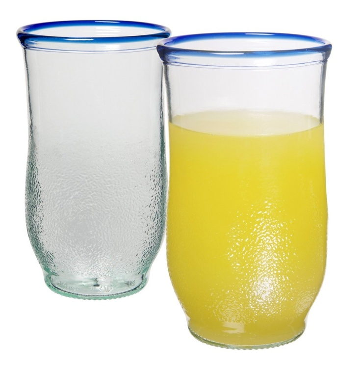 I love these glasses made from Orangina bottles from Who's Glass (http://www.whosglass.co.uk/) - they've got a wide selection of styles.