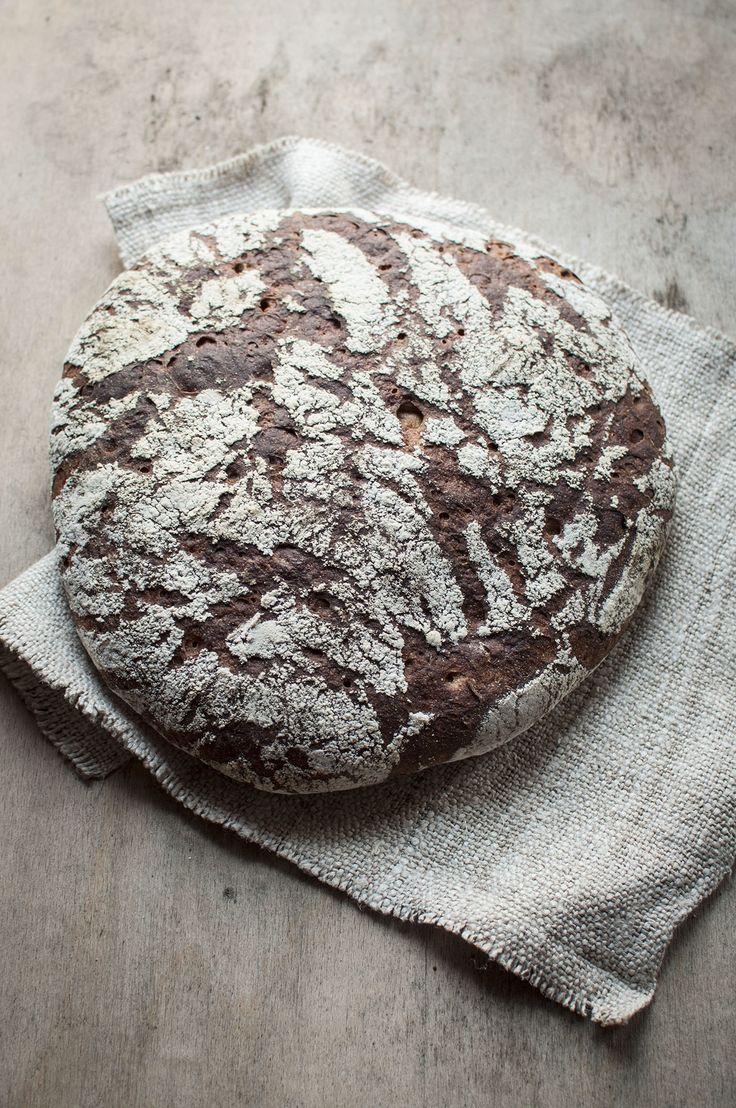 rustic rye sourdough bread with milk kefir