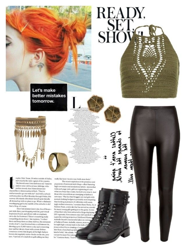 """""""Let's make better mistakes tomorrow!"""" by gardenofroses on Polyvore featuring New Look, River Island, Philosophy di Lorenzo Serafini, Panacea, gold, boho, orangehair, crochettop and leaher"""