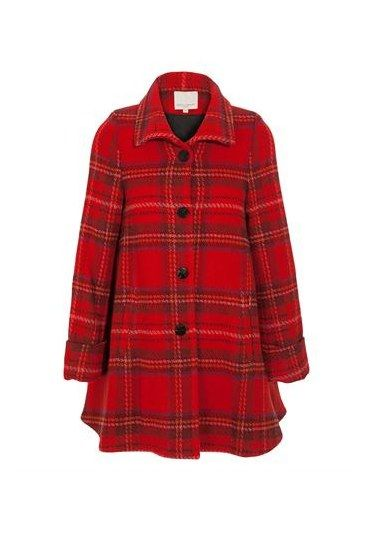 Opening Ceremony Plaid Wool-Blend Flared Coat - New British Heritage | luxury tweed, plaid & camel coats - Bright red is England's colour! Phone boxes, hunting jackets, military dress coats and post boxes: the colour of Saint George gives classic tweed a welcome splash of vibrancy...