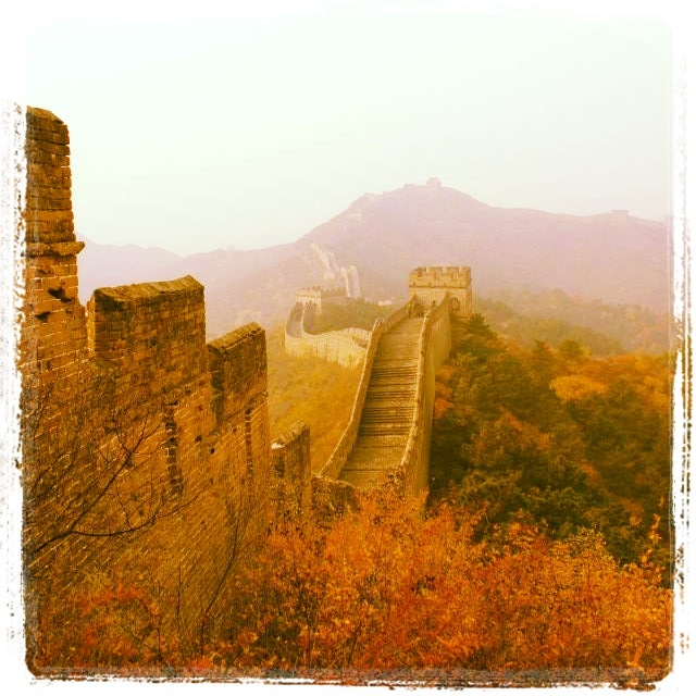 #thegreatwall #china #asia #fall #autumn #golden #7wondersoftheworld #nature #trees #mountains