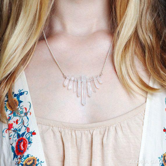 Nine Quartz Crystal Points Necklace by alohagaia on Etsy, $42.00