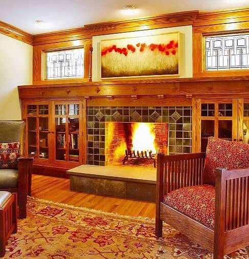 Craftsman Built in Bookcases   Craftsman fireplace with built-in bookcases