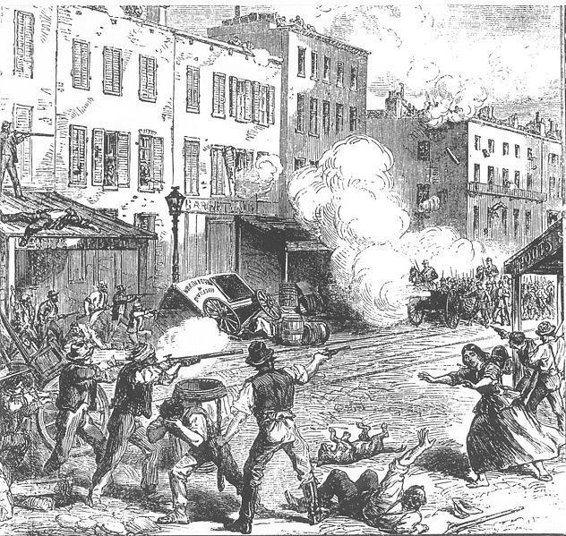 1863: NYC erupted in riots from 13 - 16 Jul 1863 as working classes expressed their resentment that wealthier men could buy their way out of the new draft law for $300. The protest turned into a race riot. Public buildings, abolitionist homes, black homes and the Colored Orphan Asylum were ransacked or destroyed. Exact death tolls are unknown, but at least 120 civilians were killed.