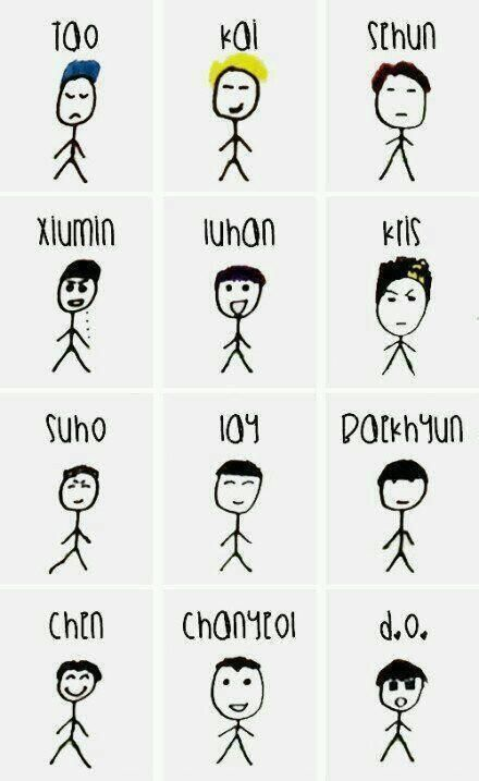 I think Sehun and Kris are really well drawn, at least you can see, who they are xD