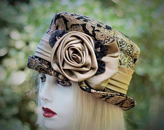 Moeder van de bruid Hat, Vintage stijl Hat, Edwardian paardrijden hoed, formele bruiloft hoeden, Victoriaanse cilinderhoed, Bucket Hat, Steampunk Hat, stof hoed
