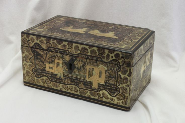 A very nice Chinese box, made for the Western market, and dating from around 1850, with gilt decoration on a black background. www.chinaroseantiques.com.au
