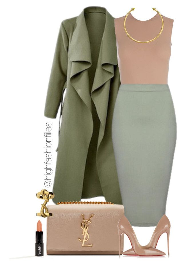 """""""Khaki?"""" by highfashionfiles on Polyvore featuring Maison Margiela, Christian Louboutin, Yves Saint Laurent and OBEY Clothing"""