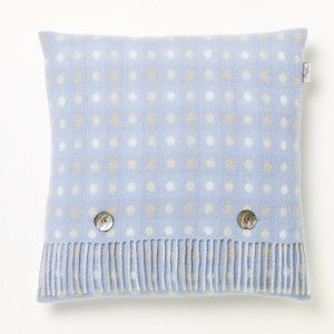 Lambswool Cushion Spot Check Skye Blue #babyblue #interiordesign #wool