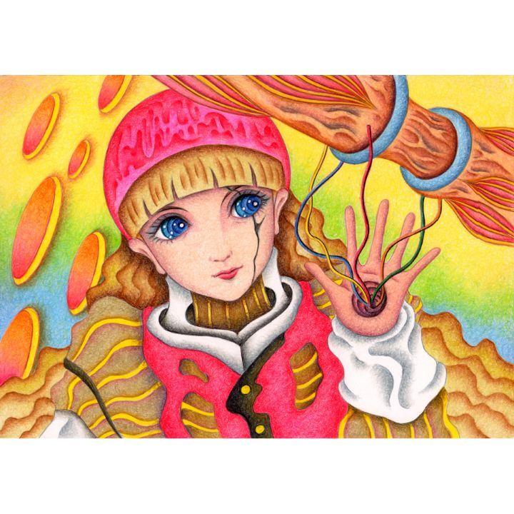 メルカリ商品 手描きイラスト色鉛筆画サイボーグ メルカリ