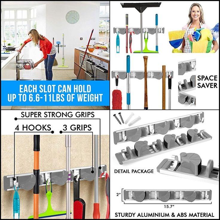 Wall Mounted Non Slide Mop Broom Holder and Rake Garden Tool Organizer w/ 4 Hook #BestBroomHolder