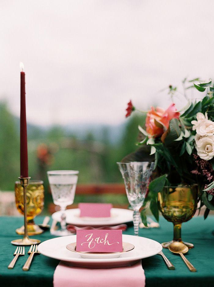 Fuchsia, Emerald, and Gold Summer Mountain Wedding