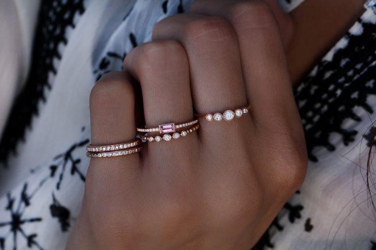 14kt gold five diamond bezel bead ring – Luna Skye