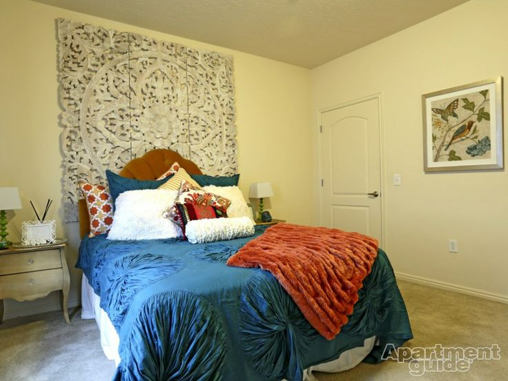 We love everything about this #bedroom, everything from the red, white and blue combo to the creative carved wood headboard. | Lions Gate Apartments » http://apt.gd/1kEDyHM — in Salt Lake City, UT #Utah #SLC #apartment
