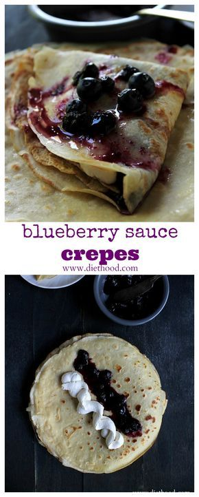 Blueberry Sauce Crepes with Honey Whipped Cream | www.diethood.com | Soft and silky Crepes filled with a sweet Honey Whipped Cream and a warm Blueberry Sauce. | #recipe #breakfast #crepes #blueberries
