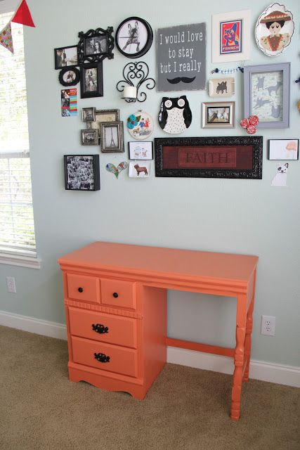 The Chronicles of Ruthie Hart: DIY Desk Makeover painting laminate furniture without sanding