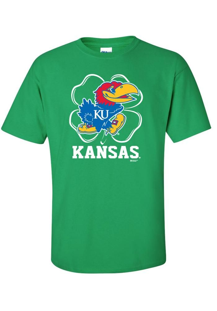 kansas jayhawks t shirt mens green st patrick 39 s patty