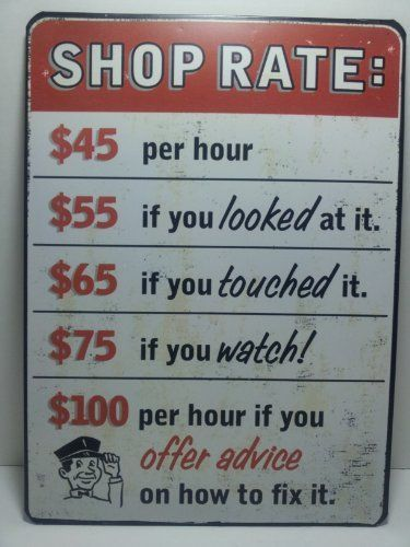 Vintage Style Automotive Garage SHOP RATE $$$ Per Hour Metal Tin Sign GM Great Fathers Day Gift MAN CAVE by Square One, THE MAN CAVE.If you wish to buy just click on amazon below this Pinterest Pin. http://www.amazon.com/gp/product/B00AGZZMDO?ie=UTF8=213733=393177=B00AGZZMDO=shr=abacusonlines-20&=hi=1367206171=1-24=man+cave