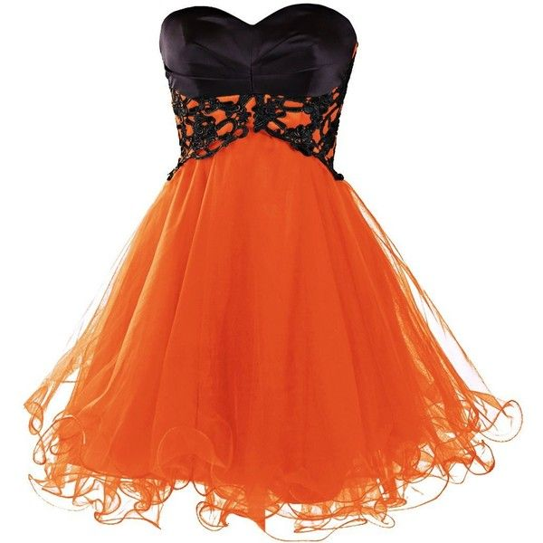 Dresstells Short Prom Dresses 2015 Homecoming Dress for Women ($159) ❤ liked on Polyvore featuring dresses, orange dress, short dresses, prom homecoming dresses, short orange dress and orange homecoming dresses