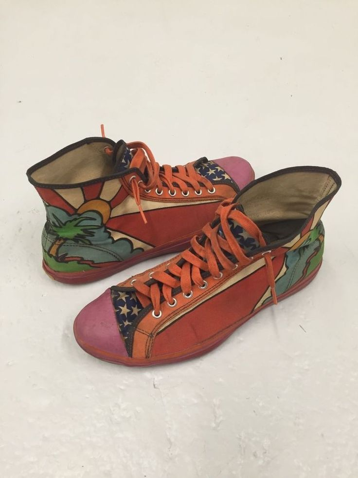 1960s Vintage Peter Max Hi Top Tennis Shoes by Randy Original RARE sneakers  #Randy