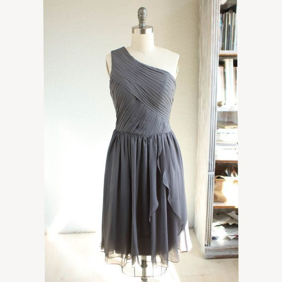 Crinkle chiffon party dress charcoal grey bridesmaid for Charcoal dresses for weddings