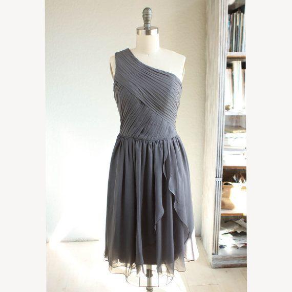 Crinkle Chiffon Party Dress Charcoal Grey Bridesmaid