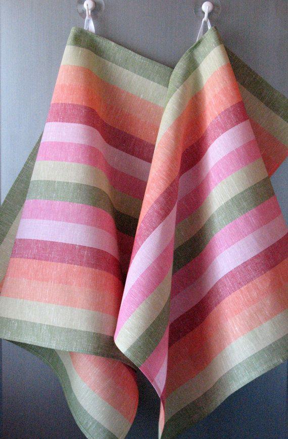Ensemble de torchon Set rayures rayé cuisine serviettes lin serviette linge serviettes torchons linge plat serviette vert rose rouge essuie-mains de 2