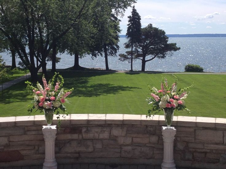 Large Pink and White Ceremony Arrangements