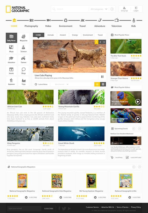 NatGeo - Redesign & Free PSD File by Cuexy , via Behance