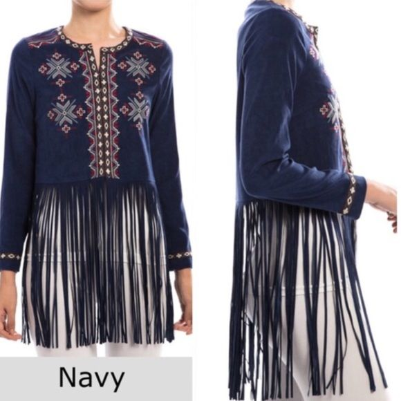 """🌺HOST PICK 3/8🌺SUEDE LIKE EMBROIDERED FRINGE TOP This is gorgeous! Navy suede, open top or jacket with beautiful embroidery and long fringe. Beautifully made! 97% polyester, 3% spandex. 32"""" long                                                                         ♦️Small: bust 36""""                                                 ♦️Medium: bust 38"""" tla2 Jackets & Coats"""