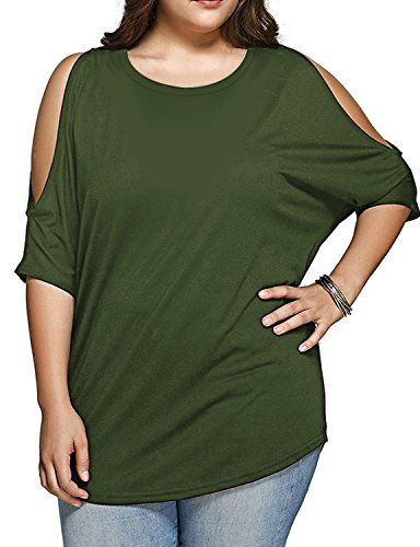 Regna X Womens Stretchy Comfy Round Neck Short Sleeve Cold Shoulder Tunic Side Slit Top (PLUS SIZE AVAILABLE)