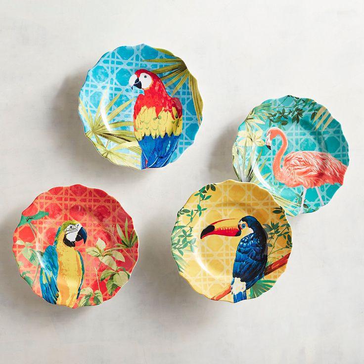 Tropical Birds Dinner Plates, Set Of 4