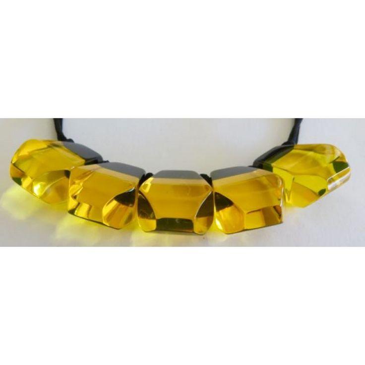 ZSISKA geel - zwarte ketting met 5 transparante kralen - 5 yellow beads
