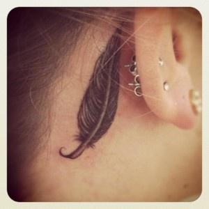 feather behind ear!