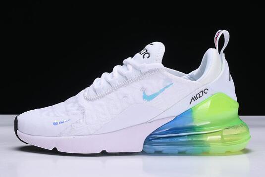 Mens and Womens Nike Air Max 270 WhiteBlue Green Shoes