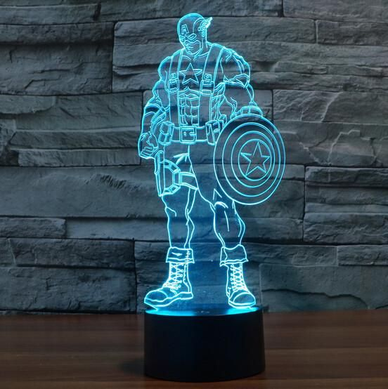 Hot NEW 7color changing 3D Bulbing Light Captain America Civil War visual illusion LED lamp action figure toy Christmas gift - 10 MINUS