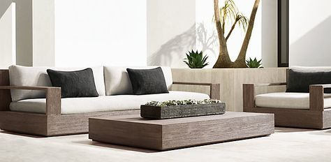 PATIO SEATING Marbella Collection- Weathered Grey Teak (Outdoor Furniture CG) | Restoration Hardware