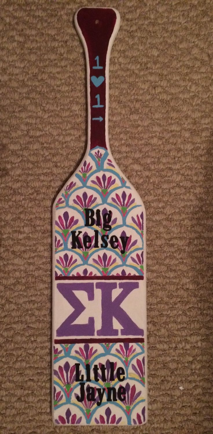The paddle I made for my Big for Sigma Kappa. On the back it says big and little we'll always be (with the Harry Potter Deathly Hollows Sign for the A).