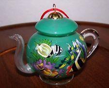 Tropical Teapots | ... Ornament ~ Hand Blown Glass Tea Pot Depicting Aquarium & Tropical Fish