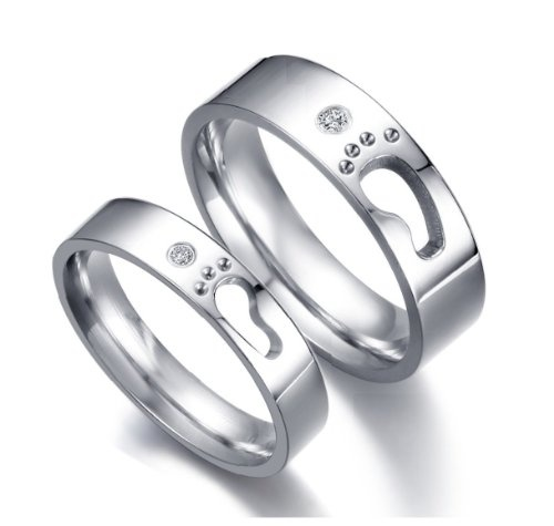 """Stainless Steel Cubic Zirconia """"Footprints of Love"""" Symbolised Couple Rings Set for Engagement,Promise,Eternity R019 (His Size 7,8,9,10; Hers Size 5,6,7,8). Please Email Sizes: Jewelry: Amazon.com"""
