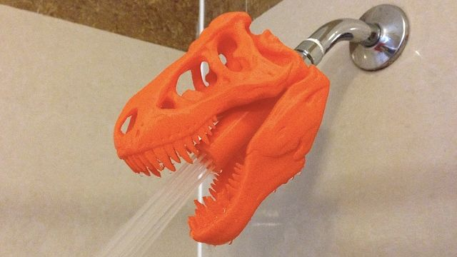 The next time someone asks you to explain 3D printers, and why anyone would want one in their home, you can simply bring up this article and show them that without 3D printing technology we may never have had a T-Rex shower head.