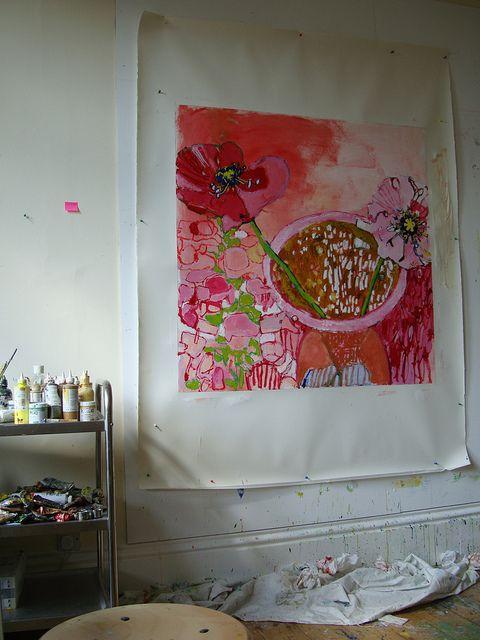 Taste of Summer #4 on studio wall by Caroline Havers