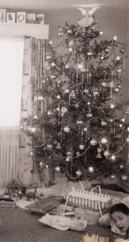 Vintage Christmas Tree...I love the little girl's head popping around the corner.