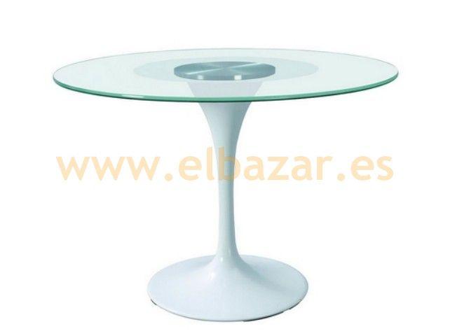 mesa redonda diseo cristal aluminio blanca exterior